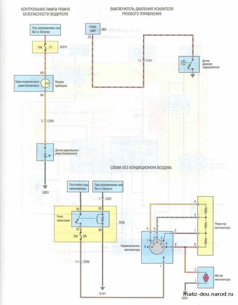 Электрическая схема вентилятора деу матиз.